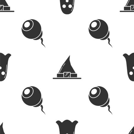 Set Ghost , Witch hat  and Eye  on seamless pattern. Vector