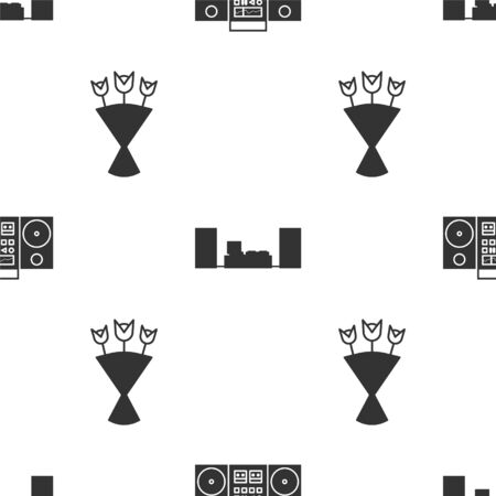 Set Home stereo with two speakers , Home stereo with two speakers and Bouquet of flowers on seamless pattern. Vector