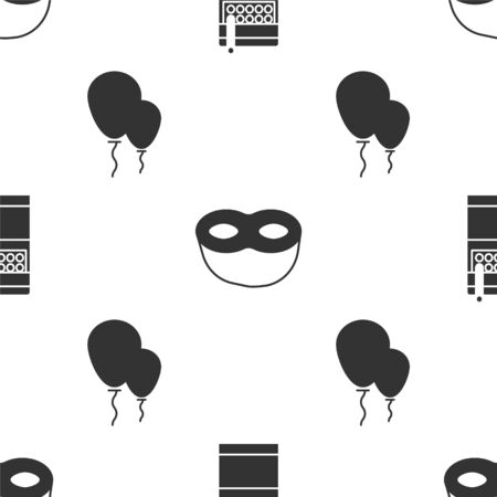 Set Open cigarettes pack box , Festive mask  and Balloons with ribbon  on seamless pattern. Vector