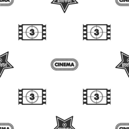 Set Hollywood walk of fame star on celebrity boulevard , Cinema poster design template  and Play Video  on seamless pattern. Vector