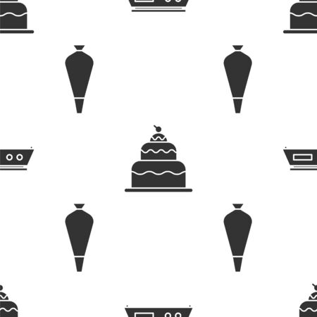 Set Electronic scales , Cake and Pastry bag for decorate cakes on seamless pattern. Vector