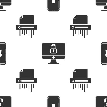 Set Smartphone with lock , Lock on computer monitor screen and Paper shredder confidential on seamless pattern. Vector