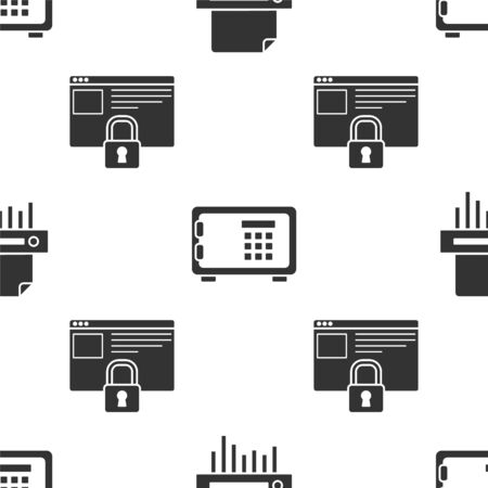 Set Paper shredder confidential, Safe and Secure your site with HTTPS, SSL on seamless pattern. Vector 向量圖像