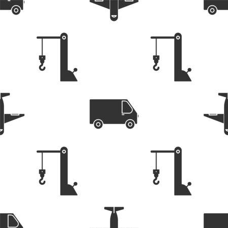 Set Plane , Delivery cargo truck vehicle and Harbor port crane on seamless pattern. Vector Vektorgrafik