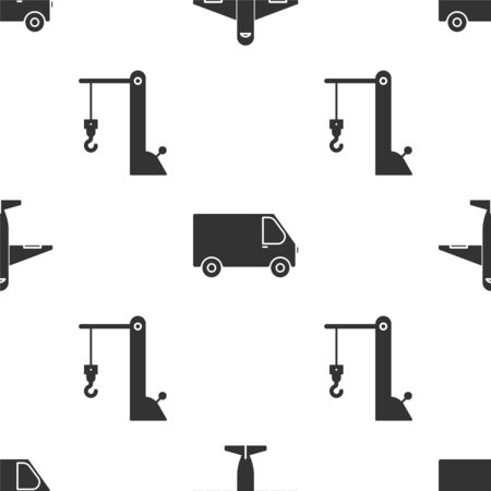 Set Plane , Delivery cargo truck vehicle and Harbor port crane on seamless pattern. Vector Vecteurs