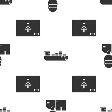 Set Delivery man with cardboard boxes , Cargo ship with boxes delivery service  and Cardboard box with traffic symbol  on seamless pattern. Vector Illustration