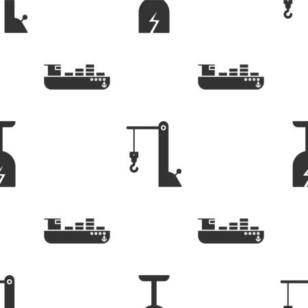 Set Fragile broken glass symbol, Harbor port crane and Cargo ship with boxes delivery service  on seamless pattern. Vector