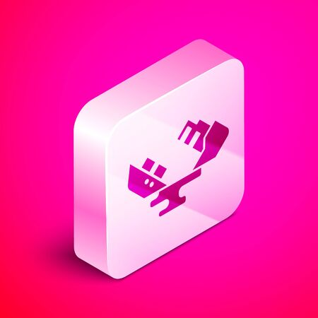 Isometric Wrecked oil tanker ship icon isolated on pink background. Oil spill accident. Crash tanker. Pollution Environment concept. Silver square button. Vector Illustration