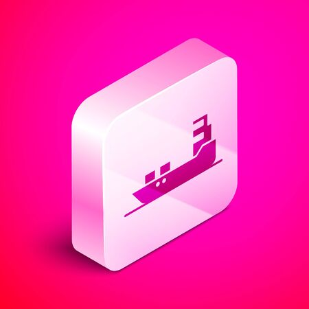 Isometric Oil tanker ship icon isolated on pink background. Silver square button. Vector Illustration Illustration