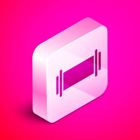 Isometric Industry metallic pipe icon isolated on pink background. Silver square button. Vector Illustration