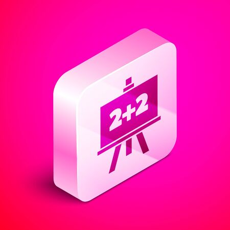Isometric Chalkboard icon isolated on pink background. School Blackboard sign. Silver square button. Vector Illustration