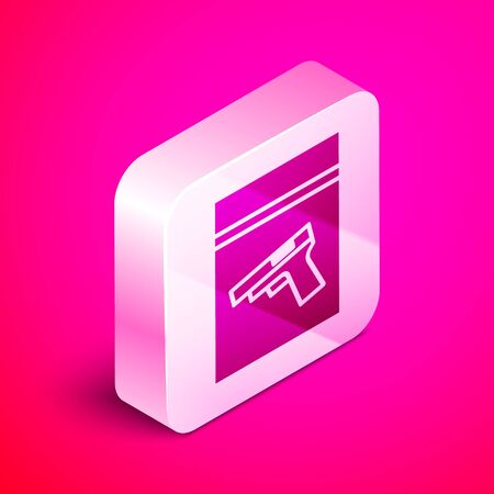 Isometric Evidence bag and pistol or gun icon isolated on pink background. Silver square button. Vector Illustration Illustration