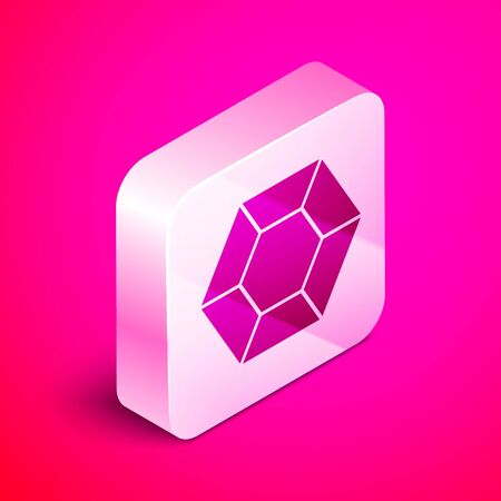 Isometric Magic stone icon isolated on pink background. Fantasy crystal. Jewelry gem for game. Silver square button. Vector Illustration