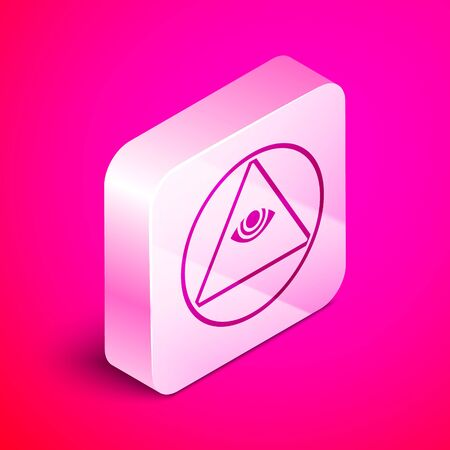 Isometric Masons symbol All-seeing eye of God icon isolated on pink background. The eye of Providence in the triangle. Silver square button. Vector Illustration Stock Illustratie