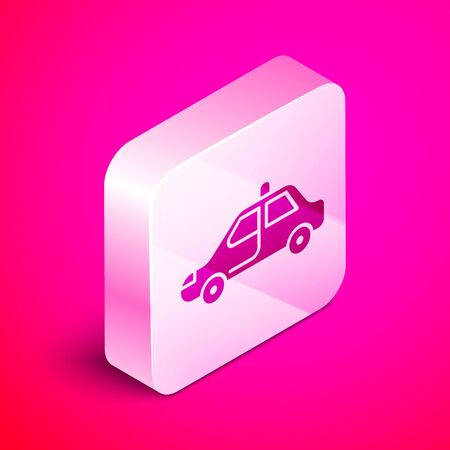 Isometric Police car and police flasher icon isolated on pink background. Emergency flashing siren. Silver square button. Vector Illustration