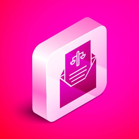 Isometric Subpoena icon isolated on pink background. The arrest warrant, police report, subpoena. Justice concept. Silver square button. Vector Illustration