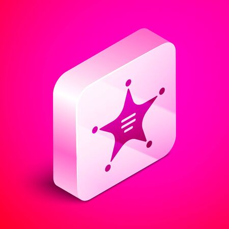 Isometric Hexagram sheriff icon isolated on pink background. Police badge icon. Silver square button. Vector Illustration