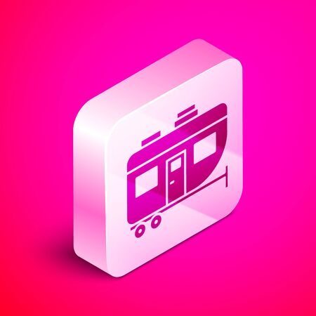 Isometric Rv Camping trailer icon isolated on pink background. Travel mobile home, caravan, home camper for travel. Silver square button. Vector Illustration Vettoriali