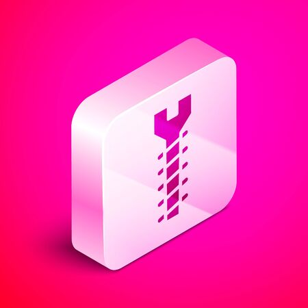 Isometric Metallic screw icon isolated on pink background. Silver square button. Vector Illustration