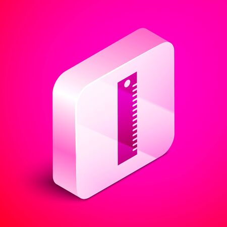 Isometric Ruler icon isolated on pink background. Straightedge symbol. Silver square button. Vector Illustration