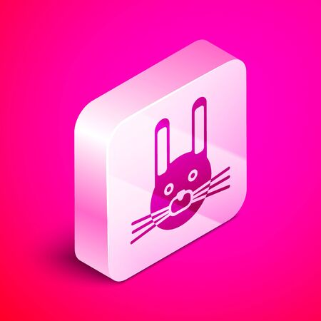 Isometric Easter rabbit icon isolated on pink background. Easter Bunny. Silver square button. Vector Illustration