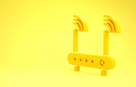 Yellow Router and wireless signal symbol icon isolated on yellow background. Wireless modem router. Computer technology internet. Minimalism concept. 3d illustration 3D render