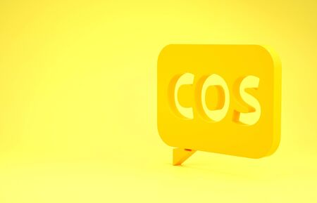 Yellow Mathematics function cosine icon isolated on yellow background. Minimalism concept. 3d illustration 3D render Stockfoto