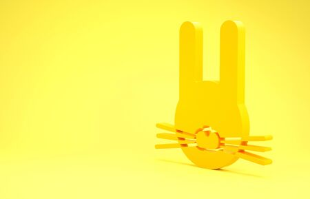 Yellow Easter rabbit icon isolated on yellow background. Easter Bunny. Minimalism concept. 3d illustration 3D render