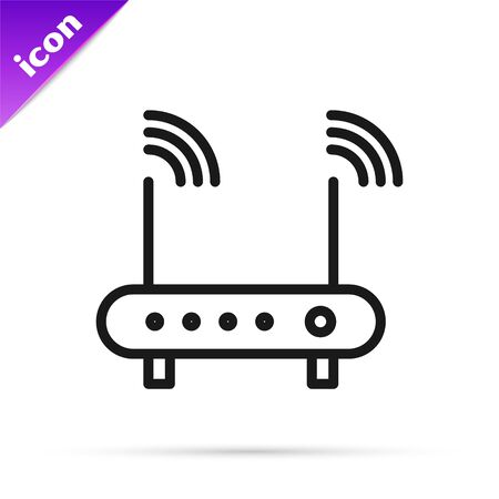 Black line Router and wireless signal symbol icon isolated on white background. Wireless modem router. Computer technology internet. Vector Illustration