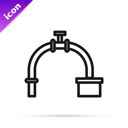 Black line Industry metallic pipe and valve icon isolated on white background. Vector Illustration