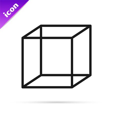 Black line Function mathematical symbol icon isolated on white background. Vector Illustration Illustration