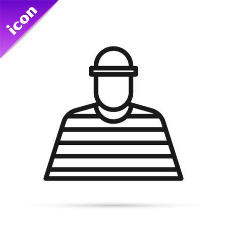 Black line Prisoner icon isolated on white background. Vector Illustration
