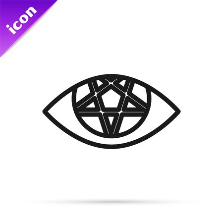 Black line Pentagram icon isolated on white background. Magic occult star symbol. Vector Illustration