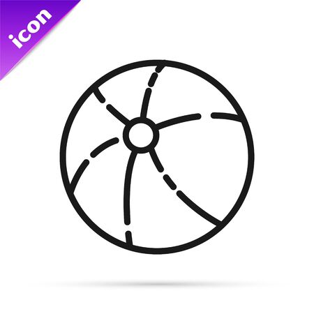 Black line Beach ball icon isolated on white background. Vector Illustration