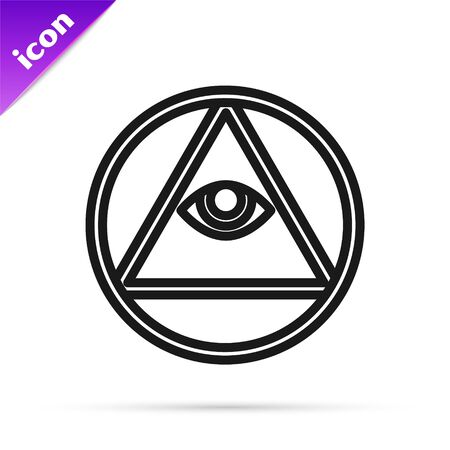 Black line Masons symbol All-seeing eye of God icon isolated on white background. The eye of Providence in the triangle. Vector Illustration