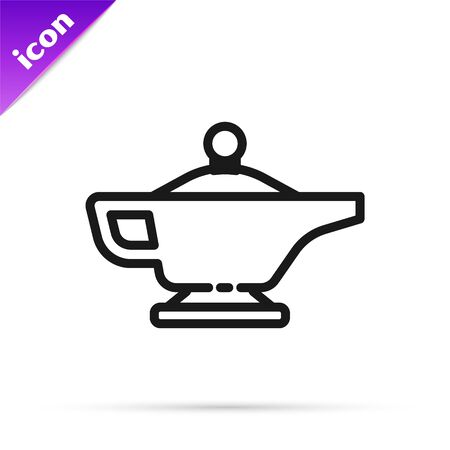 Black line Magic lamp or Aladdin lamp icon isolated on white background. Spiritual lamp for wish. Vector Illustration Vettoriali