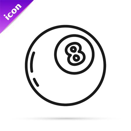 Black line Magic ball of predictions for decision-making icon isolated on white background. Crystal ball. Vector Illustration