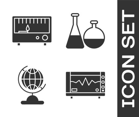 Set Computer monitor with cardiogram, Electrical measuring instruments, Earth globe and Test tube and flask chemical laboratory icon. Vector