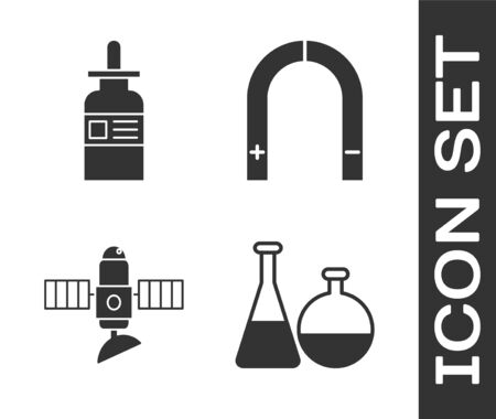 Set Test tube and flask chemical laboratory, Glass bottle with a pipette, Satellite and Magnet icon. Vector Vettoriali
