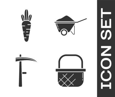 Set Shopping basket, Carrot, Scythe and Wheelbarrow with dirt icon. Vector