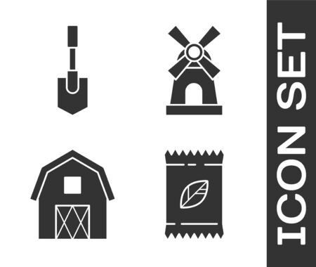 Set A pack full of seeds of a specific plant, Shovel, Farm House concept and Windmill icon. Vector Illustration