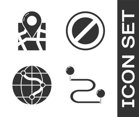 Set Route location, Folded map with location marker, Location on the globe and Stop sign icon. Vector Ilustración de vector