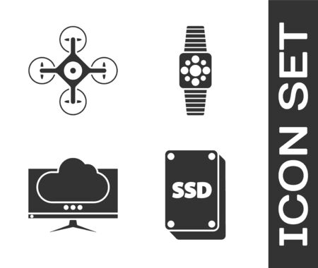 Set SSD card, Drone, Computer monitor screen and Smartwatch icon. Vector Illustration
