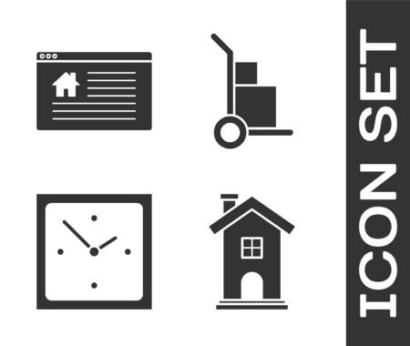 Set Home symbol, Hanging sign with text Online Sale, Clock and Hand truck and boxes icon. Vector Illustration