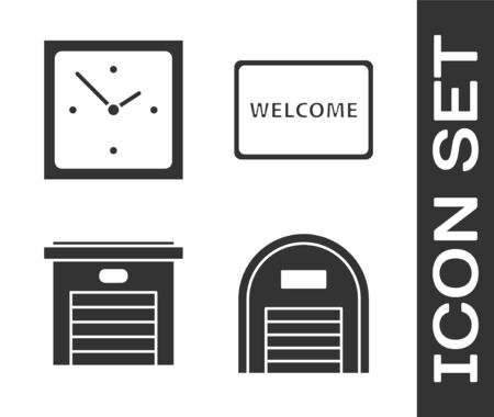 Set Warehouse, Clock, Garage and Doormat with the text Welcome icon. Vector