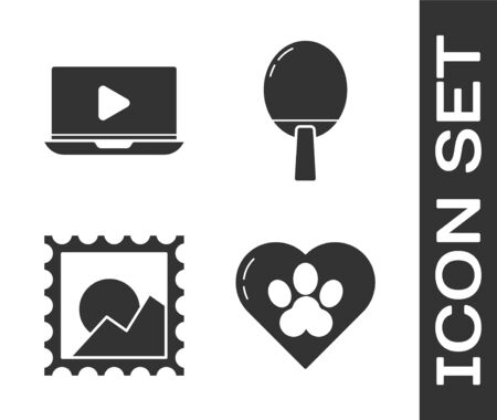Set Heart with animals footprint, Online play video, Picture landscape and Racket for playing table tennis icon. Vector
