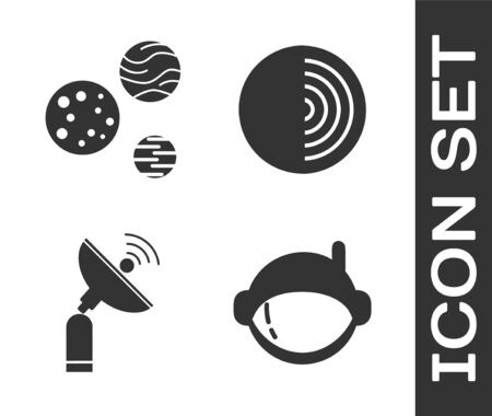 Set Astronaut helmet, Planet, Radar and Earth structure icon. Vector