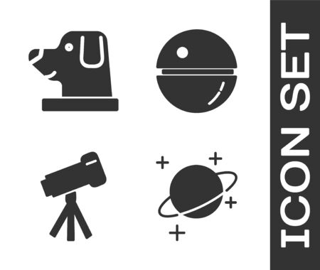 Set Planet, Dog in astronaut helmet, Telescope and Death star icon. Vector