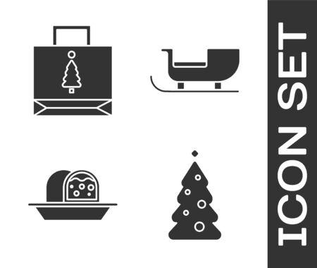 Set Christmas tree with decorations, Christmas paper shopping bag, Marzipan sponge cake and Christmas santa claus sleigh icon. Vector
