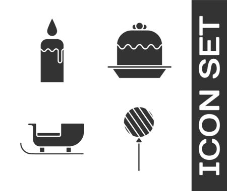 Set Lollipop, Burning candle in candlestick, Christmas santa claus sleigh and Cake icon. Vector